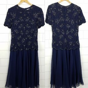 Papell Boutique size 12 Beaded Dress Navy Blue